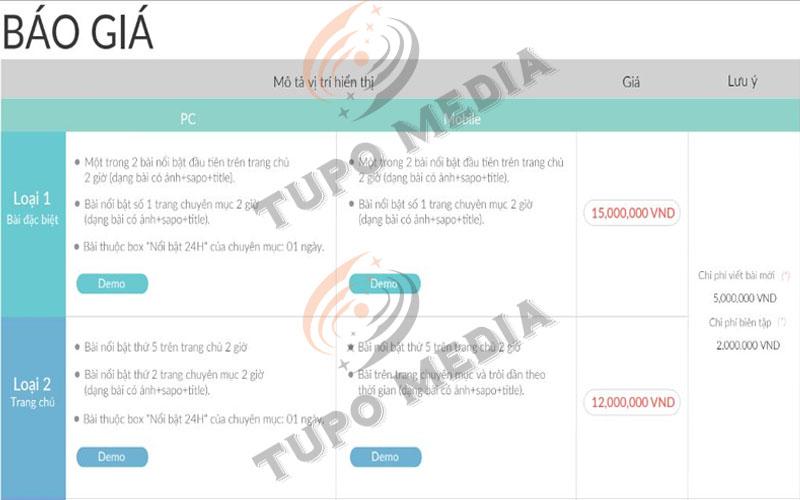 báo giá quảng cáo VTV